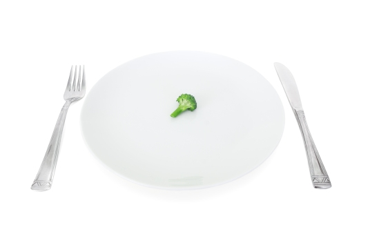 my diet, broccoli on a white plate